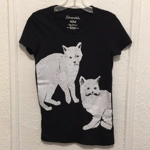 AEROPOSTALE BLACK WITH WHITE CATS TEE
